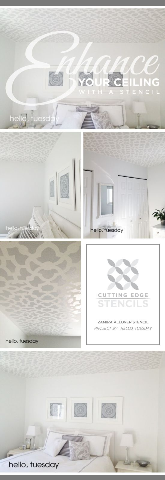 A gray stenciled bedroom ceiling using the Zamira Allover Stencil. http://www.cuttingedgestencils.com/moroccan-stencil-designs.html #cuttingedgestencils #stencils #stenciling #wallstencils #diy #bedroom #ceiling