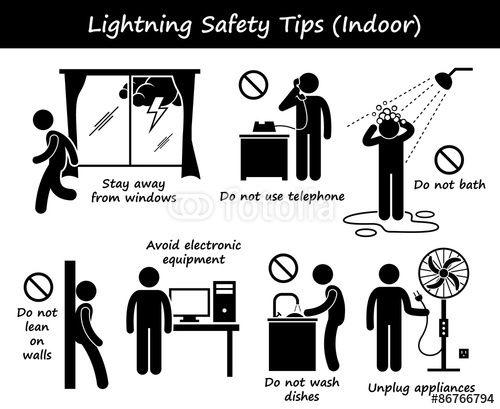 Vektor: Lightning Thunder Indoor Safety Tips - Adventurer Club Safety Specialist Award