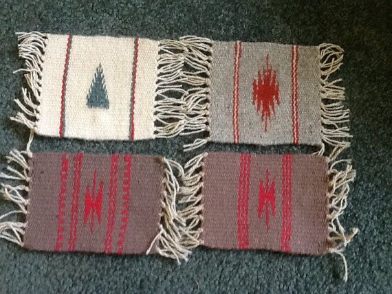 4 hand woven wool coasters or mini trivets assorted designs, southwestern style