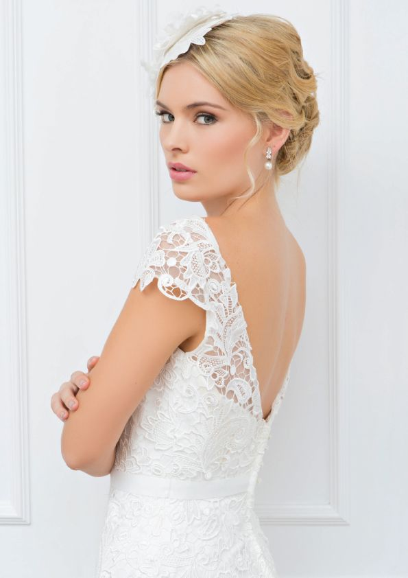 Tiffany - Wendy Makin Couture. V-back, lace, cap sleeve. Classic. Australian. Wedding gown.