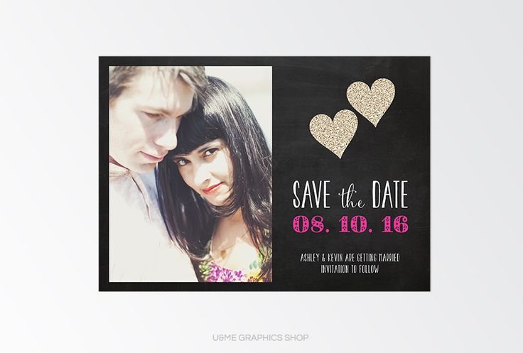 Save The Date Card - U&Me Graphics Shop   Chalkboard photo save the date card   Glitter hearts save the date card