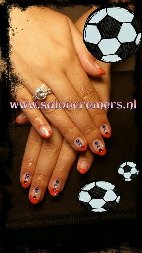 Wk bling nails orange soccer nail art