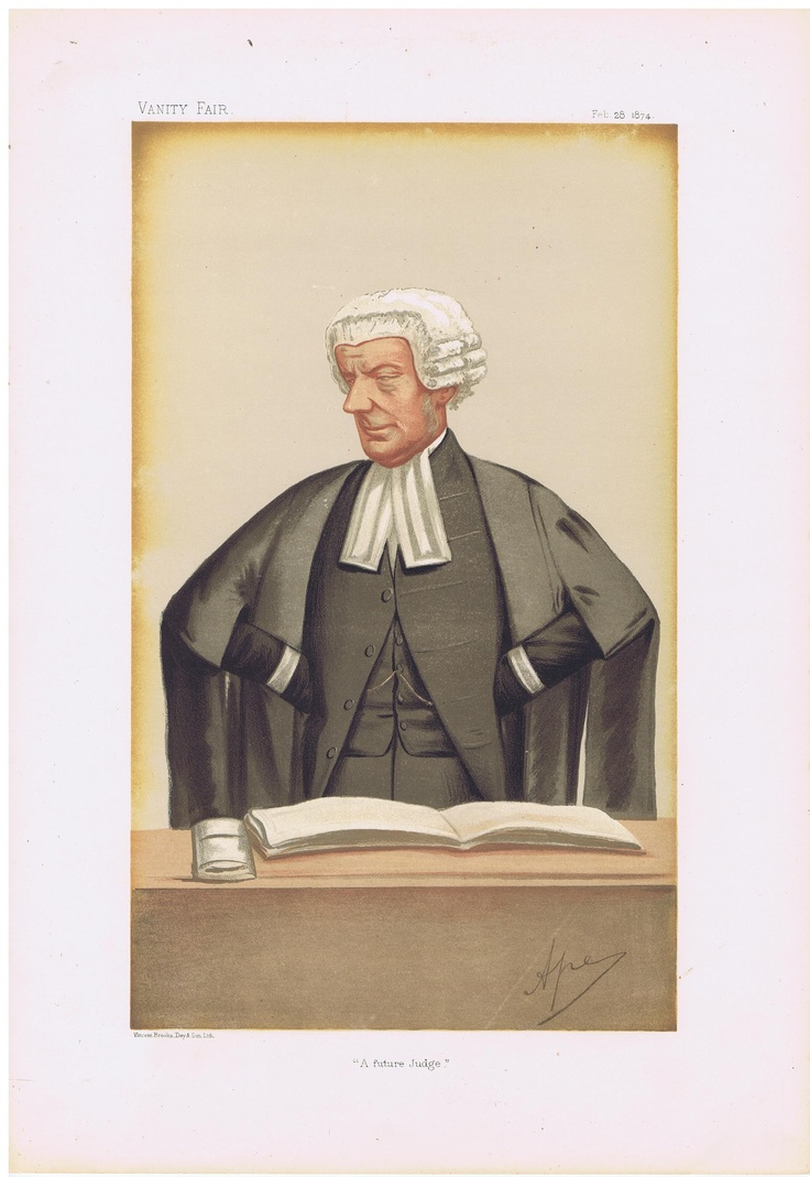 Date: 28-Feb-1874 The Vanity Fair Caricature of Mr. John W. Q.C. M.P. Huddleston With the caption of : A Future Judge By the artist: APE Visit www.theakston-thomas.co.uk for many more Vanity Fair Prints, we have one of the largest collections in the world.