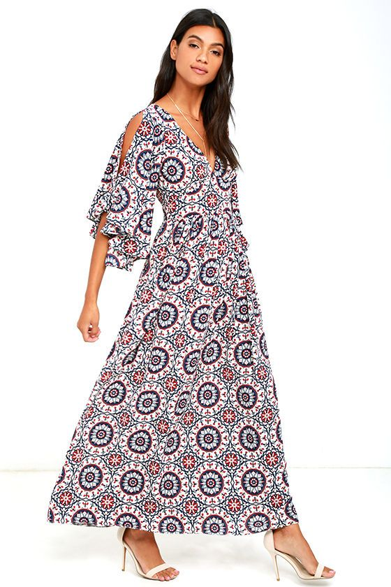 Let your beauty shine bright in the Sunshine Soul Navy Blue Print Maxi Dress! Lightweight, textured fabric, with a navy blue, red, and ivory tile print is formed to a V-neckline and fluttering, cold-shoulder sleeves. A set-in waist gives way to cascading maxi skirt. Hidden back zipper/hook clasp.