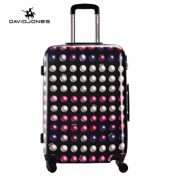 DAVIDJONES 24 inches hardside luggage vintage suitcase spinner wheels trolly