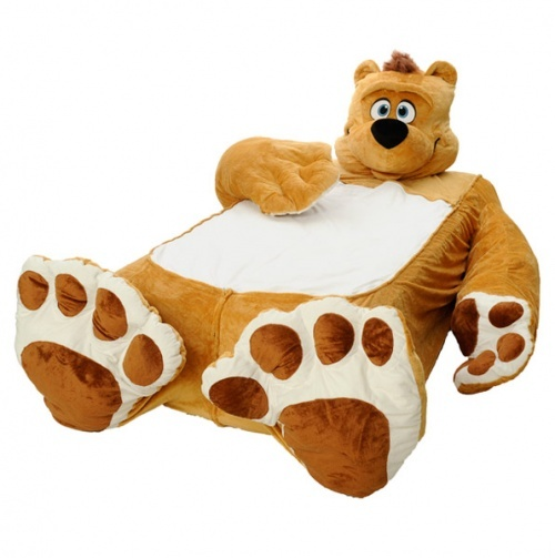 Fuzzy Brown Bear Twin Bed Cover