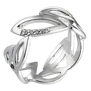 Hot Diamond Sterling Silver Diamond Leaf Ring Size P - Product number 6725864