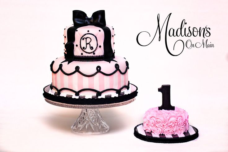 Parisian First birthday.... - I created this for a little girl named Reese that turned one.  Her party was a Paris inspired theme.  She had two matching smash cakes.  One for pics and one for the party!