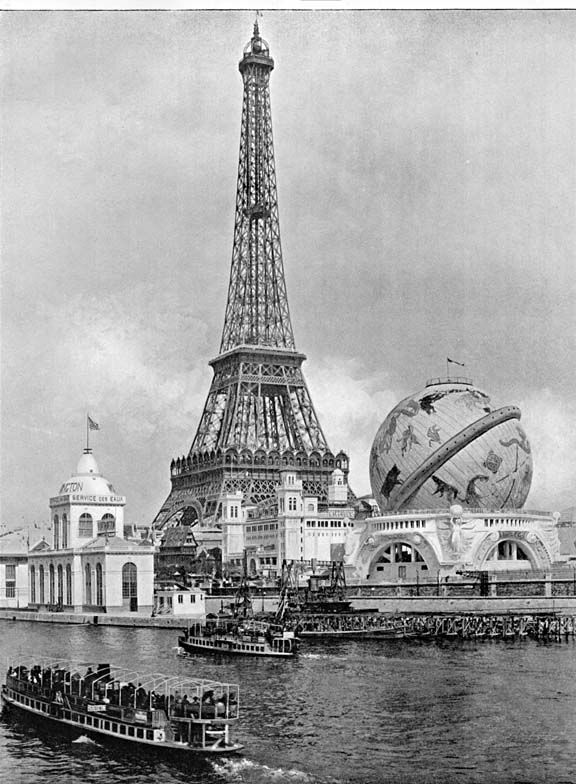"""The Globe Céleste was an icon of the Exposition Universelle of 1900 in Paris, similar to the Eiffel Tower. It was constructed in the shape of a large globe and stood next to the Eiffel Tower. It was """"catered for armchair space-travellers: spectators leaned back in easy chairs while panoramas depicting the solar system were rolled past."""""""