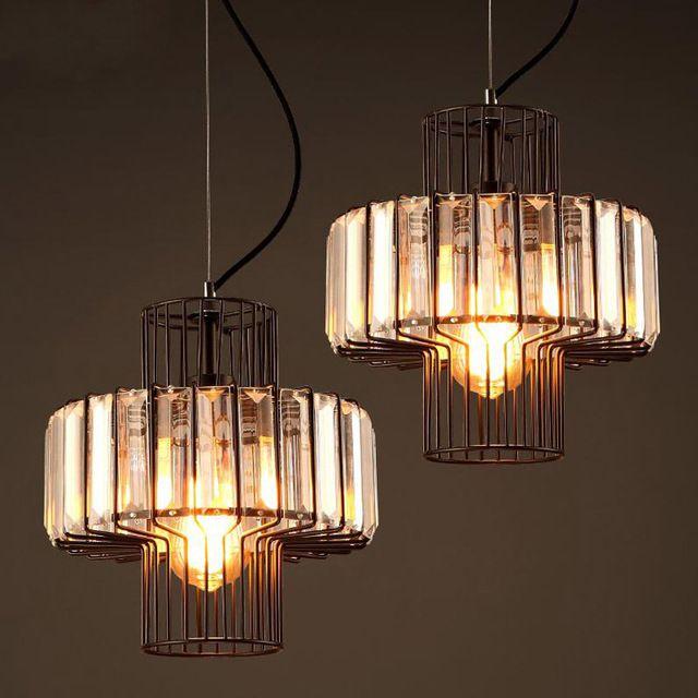 Industriële Retro Loft Kristallen Hanglampen Slaapkamer Lampen E27/E26 Luster Licht Crystal Restaurant Hanger Lampen WPL154