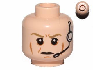 1 set Light Flesh BrickLink - Part 3626cpb1120 : Lego Minifig, Head Male Dark Tan Eyebrows Furrowed, Cheek Lines, Frown, Headset Pattern (SW Airen Cracken) - Stud Recessed [Minifig, Head] - BrickLink Reference Catalog