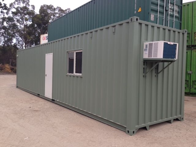 New 40' high cube container modified into an office and workshop