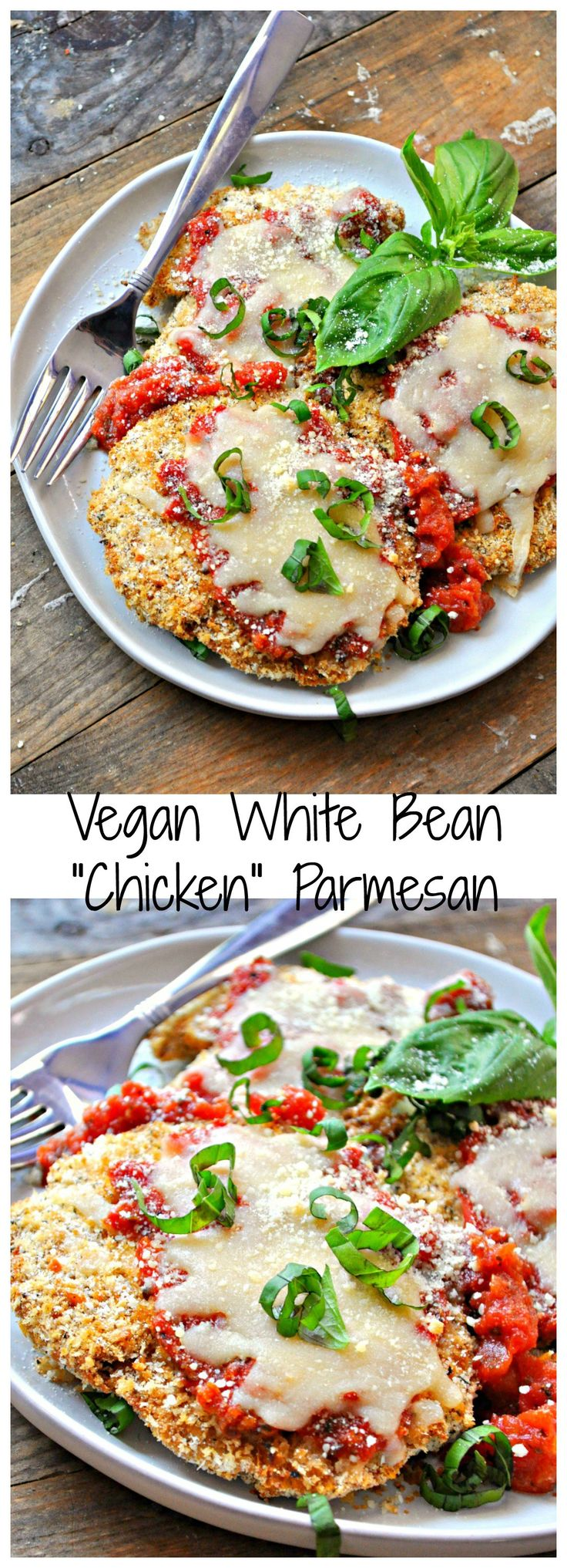 """This vegan white bean """"chicken"""" Parmesan is literally so perfect you will never know it's not the real thing. Baked not fried and filled with protein!"""