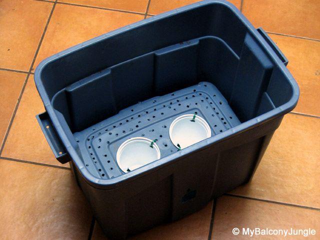 Self watering storage tote  Gardening  Self watering containers Self watering Self watering planter