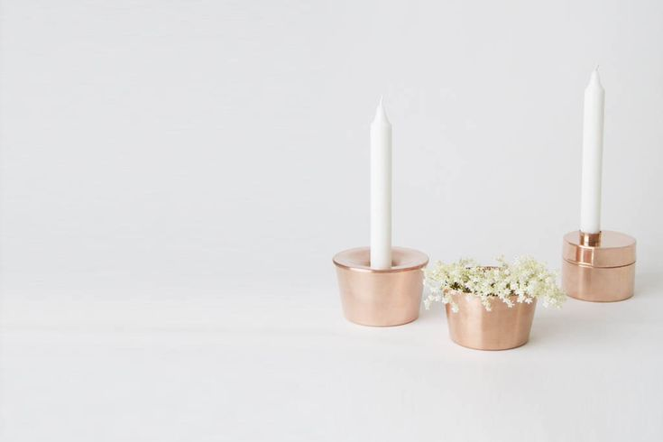 CANDLE CASE and CANDEL JAR made ​​of brass and copper.  Designed by Anya Sebton  and Eva Lilja Löwenhielm. Handmade in Sweden.