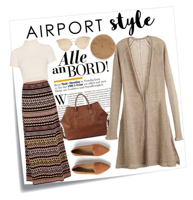 """Airport Style"" by modestyqueen on Polyvore featuring Post-It, M Missoni, Staud, Everlane, Christian Dior, Sole Society, Calypso St. Barth and airportstyle"