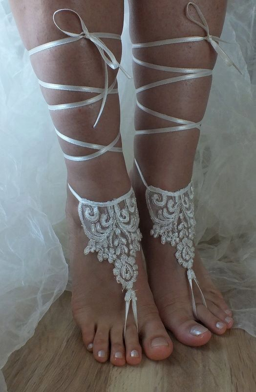 bridal anklet Beach wedding barefoot sandals bangle by geranum, $23.90