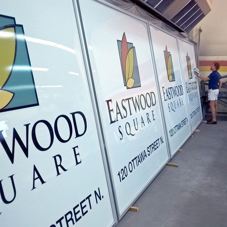 Four 8'x8' illuminated sign faces ready to be installed at Eastwood Square Plaza on Ottawa Street tomorrow.  #yoursignguys #sign #signs #kitchener #kwawesome