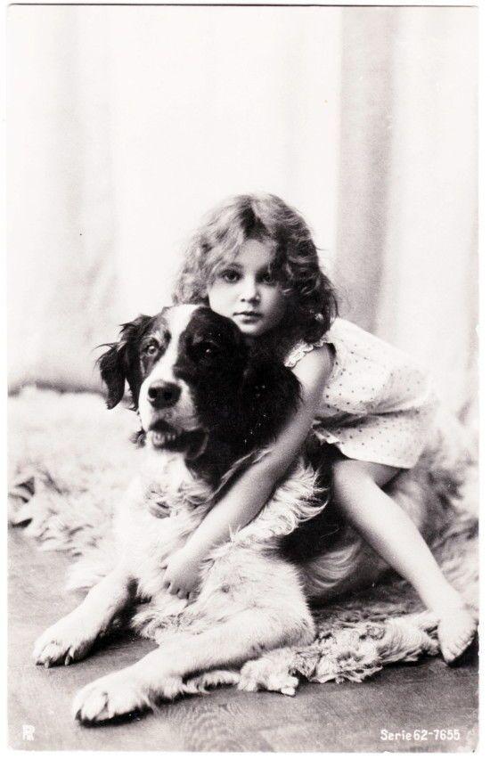 Antique RPPC Sweet Edwardian Girl in Nightie Hug Her Dog Posted 1905 | eBay