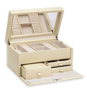 McKenna Jewelry Box, $199    There's plenty of storage in this handsome, lockable pebbled-leather box. A compartment under the tray holds bracelets and necklaces. A matching travel case sits in the left-hand drawer, ready for quick getaways. Size: 13 by 9 by 7 inches. Also in blue and red.