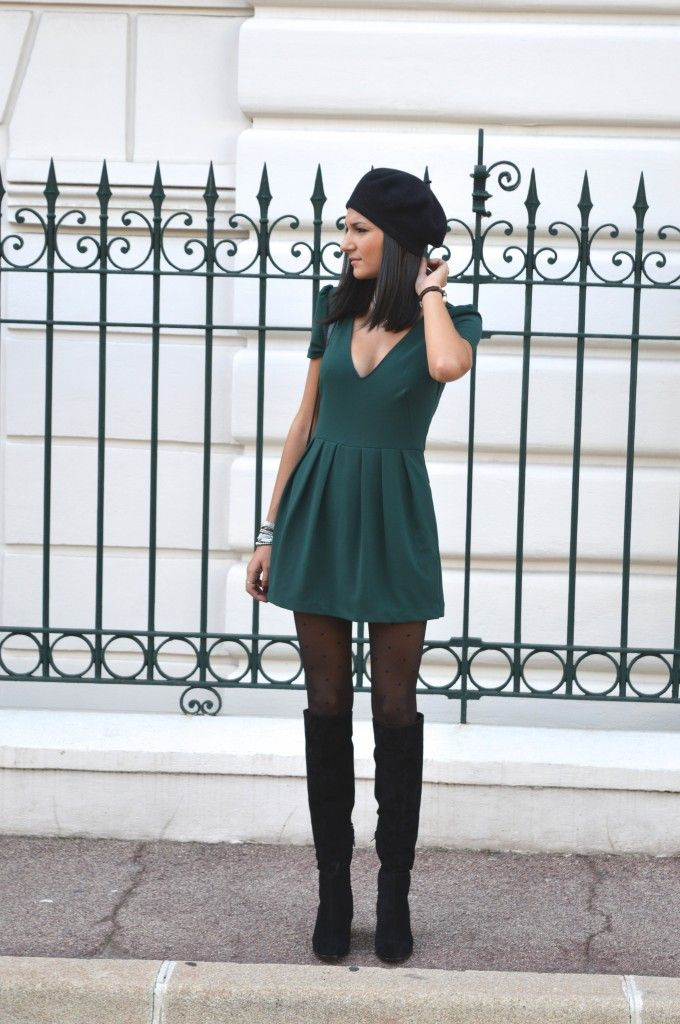 Combi short verte robe verte zara blog mode tenue pas cher bottes cuissardes