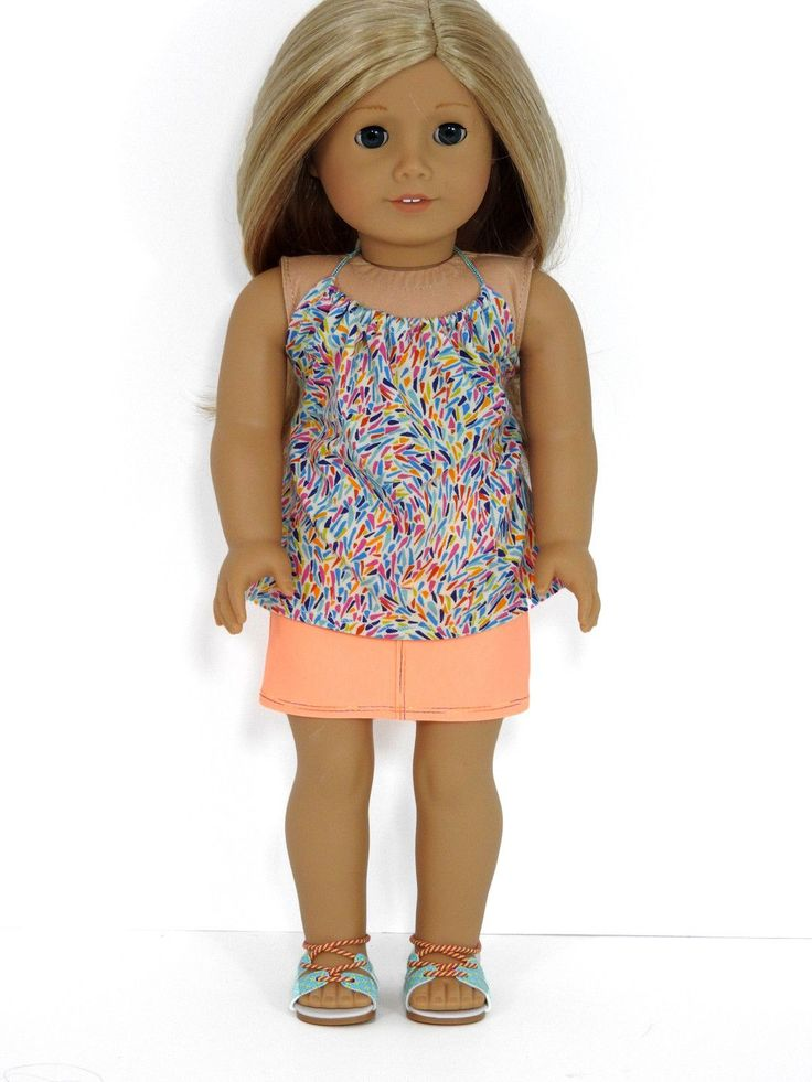 AG Doll Handmade Neon Orange Denim Mini Skirt and Halter Top Our Avanna Girl is certainly dressed for this heat wave in her new miniskirt and halter. The skirt is made with neon orange stretch denim a