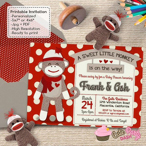 cute sock monkey baby shower invitations red sock monkey diy printable couples baby shower invite