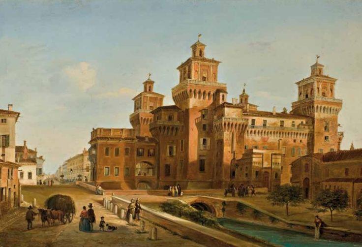 Giuseppe Canella (Verona 1788 - Firenze 1847) Il Castello Estense di Ferrara olio su tavola cm 25,5x37,5; firmato e datato in basso a sinistra Canella 1841 Ferrara  http://www.reggioiniziativeculturali.it/libreria/doc06128_Catalogo_mostra_Zamboni.pdf