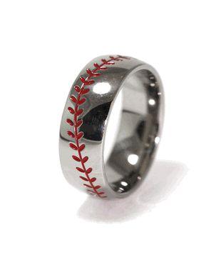 @Jess Liu Puglia perfect for danny!!! Baseball Wedding Band ~ @Mikayla Carson Carson Martin