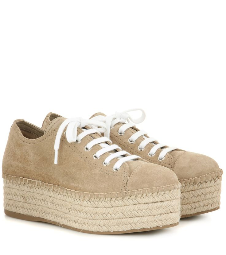 Miu Miu - Suede espadrille-style platform sneakers - Refresh your look for the new season with Miu Miu's espadrille-style sneakers. The suede pair is finished with a sizeable platform that is sure to elevate even the most casual of looks. We can't wait to wear ours with off-duty denim and lightweight feminine dresses alike. seen @ www.mytheresa.com