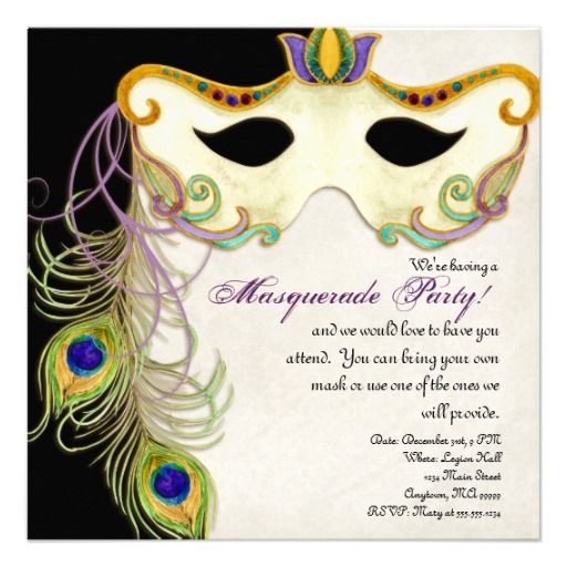 Mardi Gras Party coming up?  Peacock Masquerade Mask Ball - Party Invitation is fun and can be ordered custom personalized in any quantity.  $2.30 for one, $1.38 each for 100 or more.  #mardigras #masquerade #party #invitations #invites
