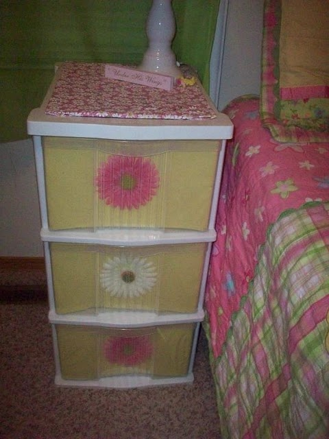 I have so many of these plastic drawers..A way to make them less of an eyesore.. Love it!