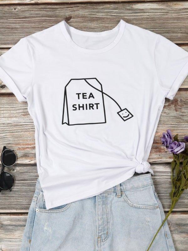 e3139f9b6 Dresswel Women Letter Print TEA SHIRT Tea Bag T-shirt Tops $12.99 #dresswel  #women #fashion #t-shirt #letterprint