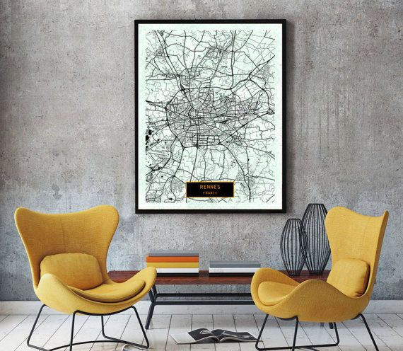 RENNES France CANVAS Large Art City Map Rennes France Art