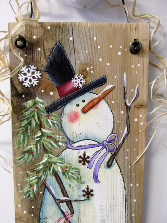 Reclaimed Barn Wood with Hand Painted Snowman by barbsheartstrokes