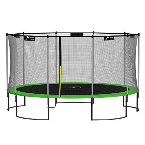 Kangaroo Hoppers 15-Feet Round Trampoline with Safety Net Enclosure and Spring Pad (APPLE GREEN) - http://www.exercisejoy.com/kangaroo-hoppers-15-feet-round-trampoline-with-safety-net-enclosure-and-spring-pad-apple-green/fitness/