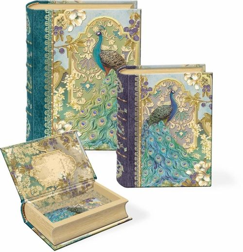 Peacocks Small Nesting Book Boxes