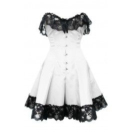 GC-1042 White Corset Dress with Black Flower Lace Trim - Burlesque corsets - Burlesque Costumes