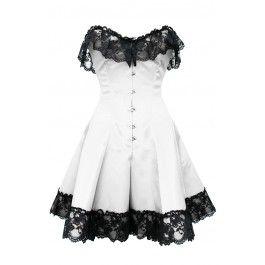 GC-1042 White Corset Dress with Black Flower Lace Trim - Burlesque corsets - Burlesque Costumes