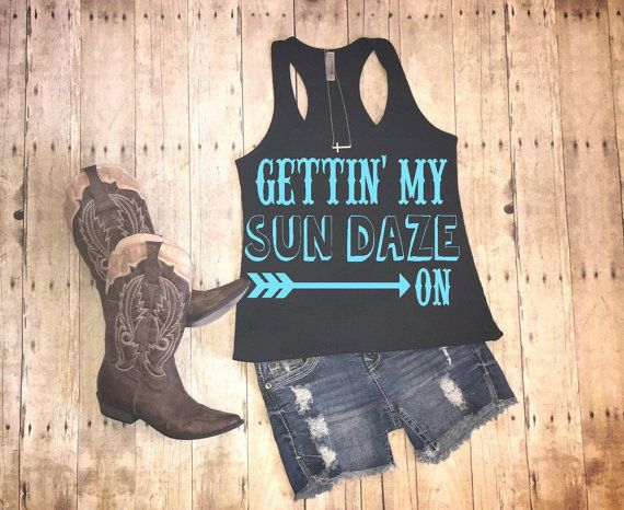 Country tank getting my sun daze on country by HeartFeltArtwork