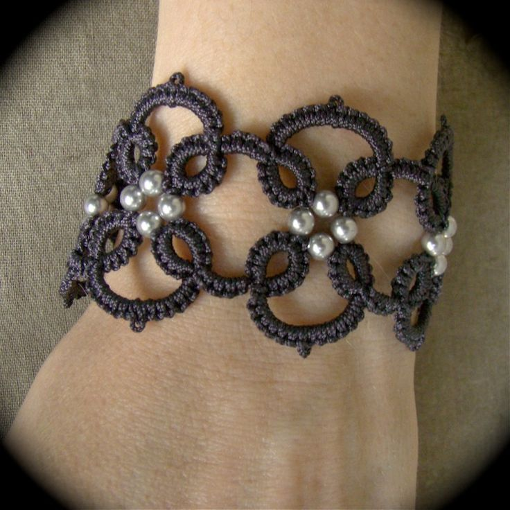 Tatted Lace Bracelet - Quadra in Grays. $18.00, via Etsy.