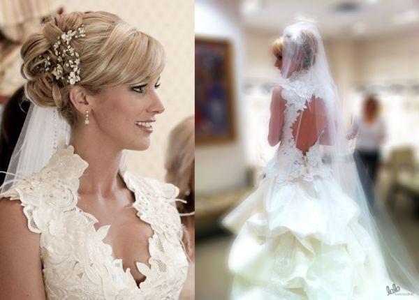 Candice Crawford Wedding DressCandice Crawford tied knots with Tony Romo wearing a St. Pucchi dress with a plunging neckline, high collar and an A-line full skirt. Her wedding dress featured a fitted bodice and a floor length train. Giving her wedding dress more demure touch, Candice accessorized it with a glamorous headband and high heels.