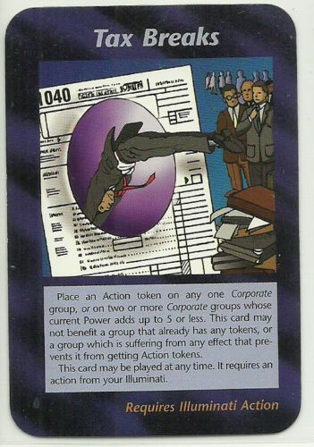 Tax Breaks Illuminati CCG Unlimited Plot Card 1995 INWO TCG Game IRS Forms. Illuminati: New World Order (INWO) is a collectible card game (CCG) that was released in 1995[1] by Steve Jackson Games, based on their original boxed game Illuminati, which in turn was inspired by The Illuminatus! Trilogy. INWO won the Origins Award for Best Card Game in 1997.