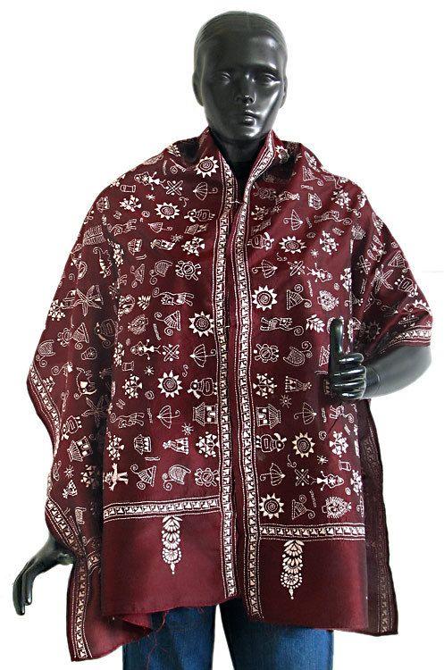 Maroon Kantha Stitch Silk Stole (Silk))