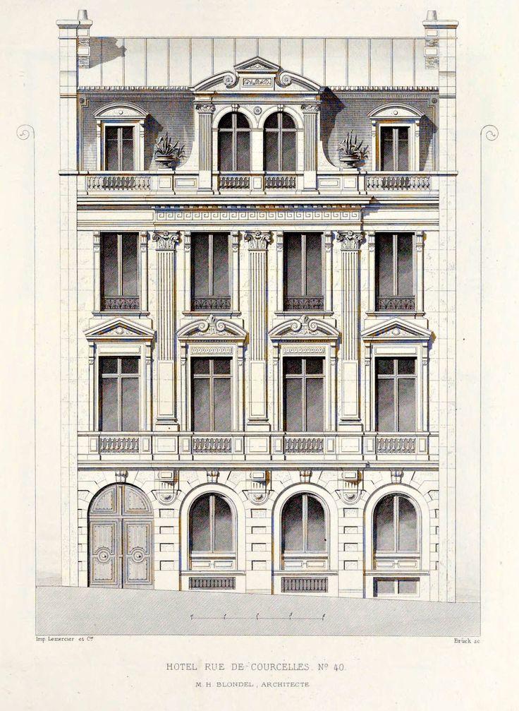 "archimaps: "" Elevation of a private residence on Rue de Courcelles, Paris """