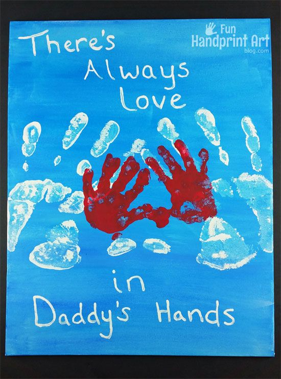"""Father's Day Canvas Art made with handprints and the sweet saying, """"There's Always Love in Daddy's Hands."""" A keepsake sure to be cherished forever!"""