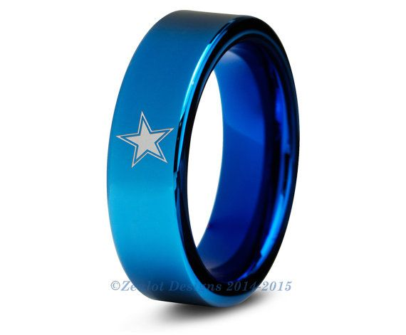 dallas cowboys ring blue tungsten wedding band by
