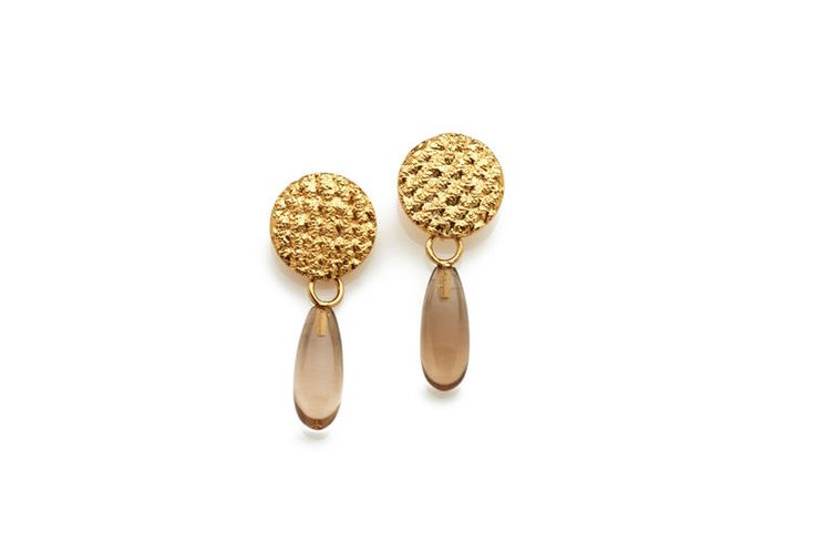 Gold Crochet Smoky Quartz Drop Earrings - product images  of