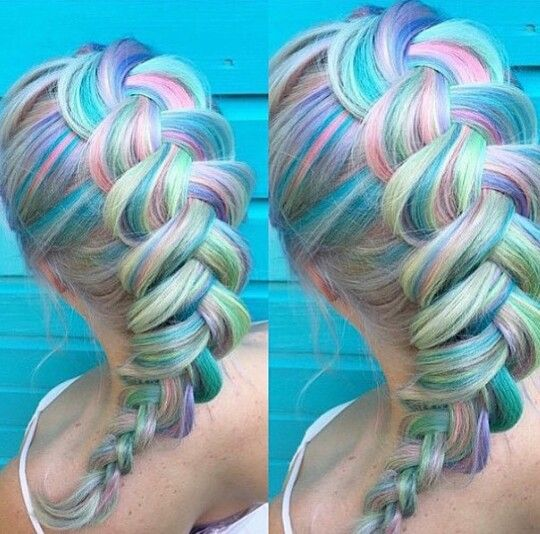 Pastel rainbow oversized braided dyed hair color streaks @lilithstalker
