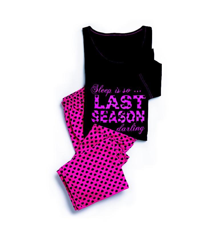 Shelley: Black Slogan Knit PJs